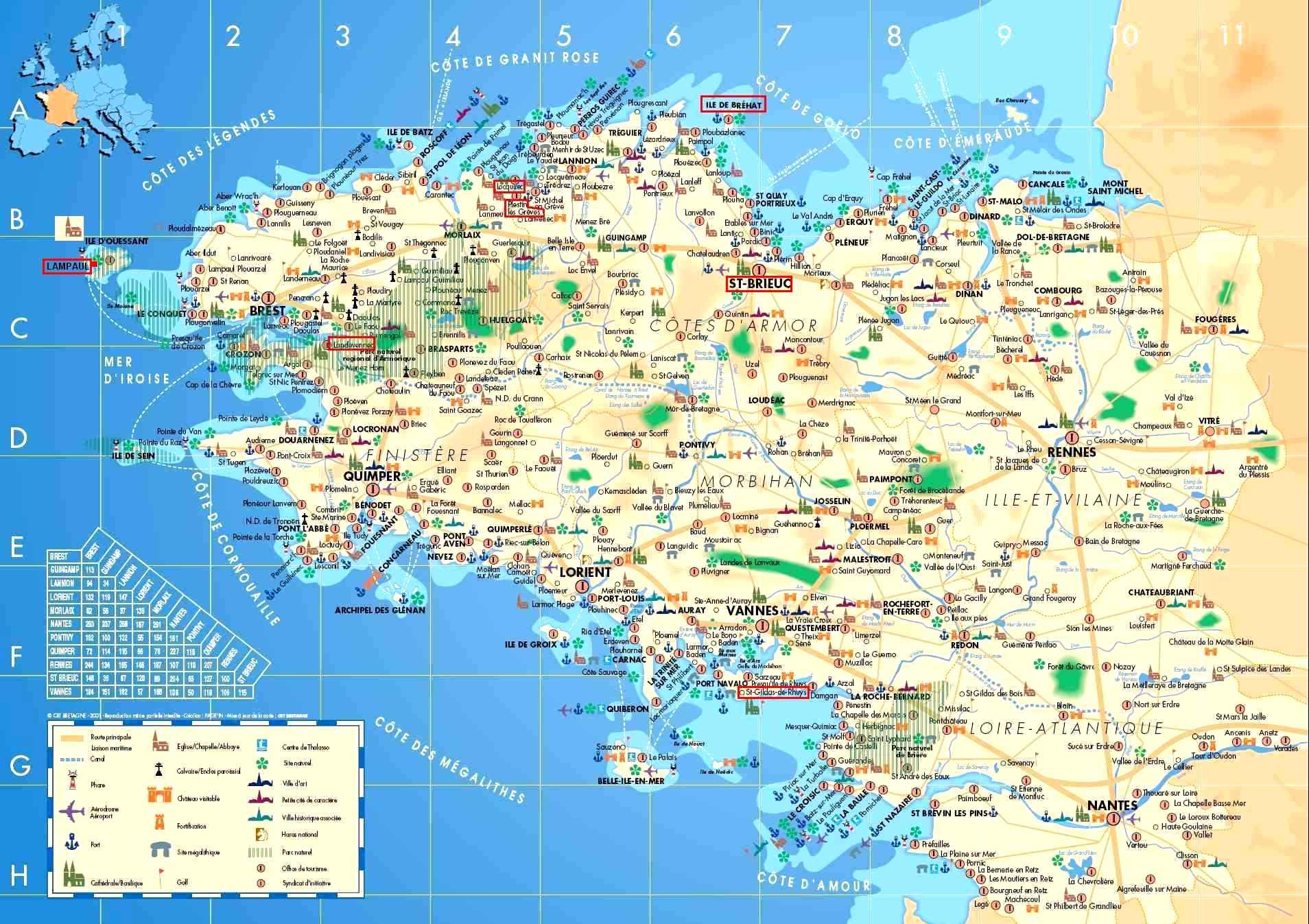 carte de la bretagne sud Carte Bretagne Sud   Images   Arts et Voyages